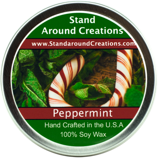 PEPPERMINT TIN 8-OZ. ALL NATURAL SOY - 8 Oz Soy Tin Candle