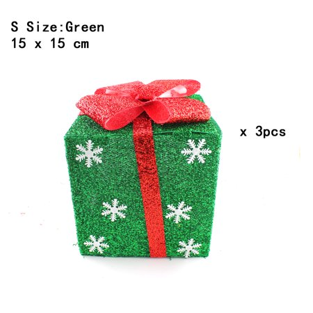 Pack of 3 Lighted Christmas Snowflakes Gift Wrap Boxes Yard Art Holiday Decoration (NOT Included LED light), Green, S