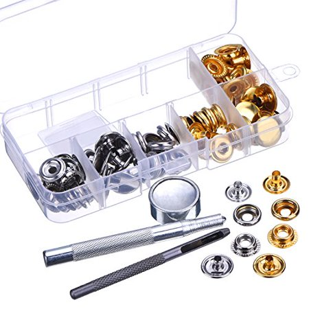 Outus 20 Set Press Studs Snap Fasteners No Sewing Clothing Snaps Button with Fixing Tool for Fabric, Leather Craft (15 mm)