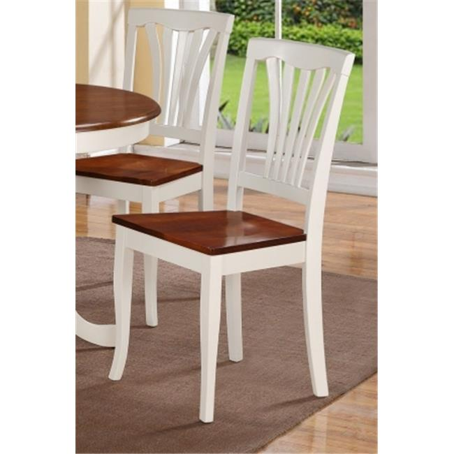 East West Furniture AVC-WHI-W Avon Chair Wood Seat-Buttermilk & Cherry Finish Pack of 2