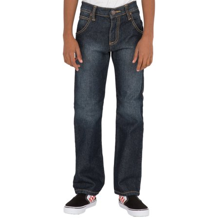 Vibes Boy's Classic Fit straight leg 5 Pocket Denim Jeans Dark Sandblasted