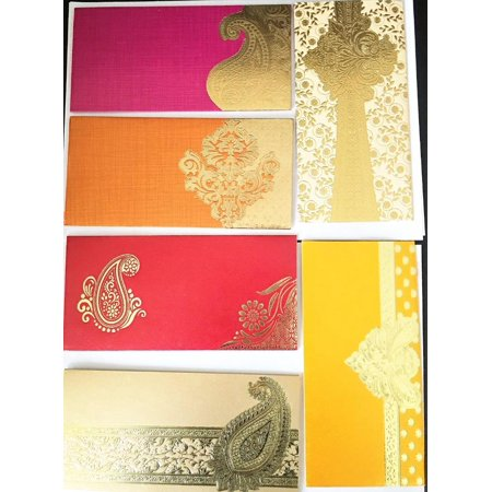 Lightahead® GIFT ENVELOPE CARD MONEY HOLDER FANCY PACKET FOR WEDDING ANNIVERSARY CHRISTMAS AND OTHER FESTIVE OCCASIONS SET OF 5 ASSORTED COLORS & DESIGN