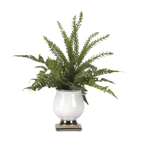 D&W Silks Mixed Leather And Heather Ferns In Cream Ceramic Planter