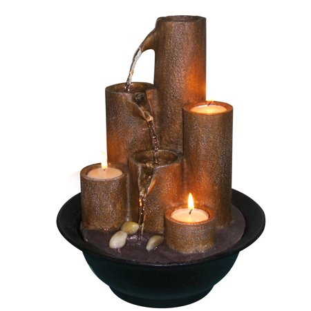 Tiered Column Tabletop Fountain With Three Candles