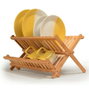 Bamboo Dish Rack Foldable Drying Collapsible Dish Drainer Wooden Plate Rack.