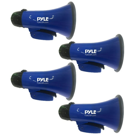 (Lot of 4) Compact And Portable Megaphone Speaker with Siren Alarm Mode, Battery