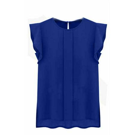 Romantic Chiffon - Lavaport Women Summer Casual Chiffon Ruffled Sleeves Office Work Blouse