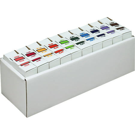Smead BCCRN Bar-Style Color-Coded Numeric Label, 0-9, Label Roll, Assorted Colors (67380)