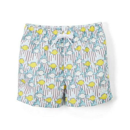d34604c4670a Azul Swimwear - Azul Baby Boys Khaki Lemon Fish Print Elastic Band  Drawstring Swim Shorts - Walmart.com