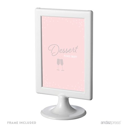 Dessert Table Blush Pink and Gray Pop Fizz Clink Wedding Framed Party Signs