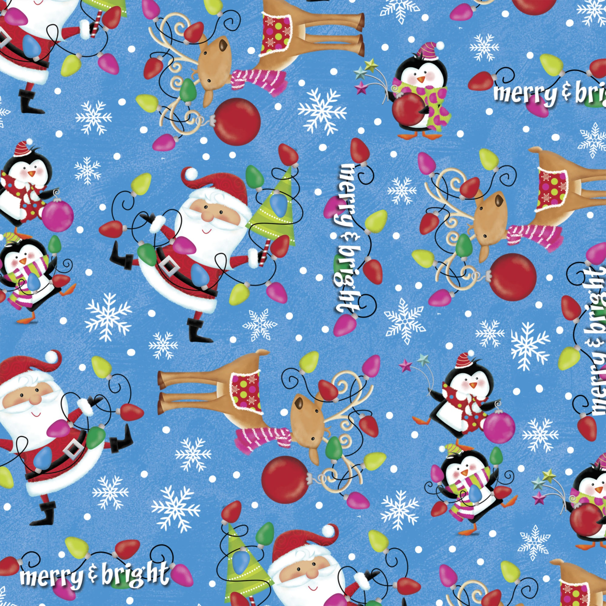 DAVID TEXTILES MERRY AND BRIGHT SANTA FLANNEL FABRIC BY THE YARD, 42 INCHES WIDE