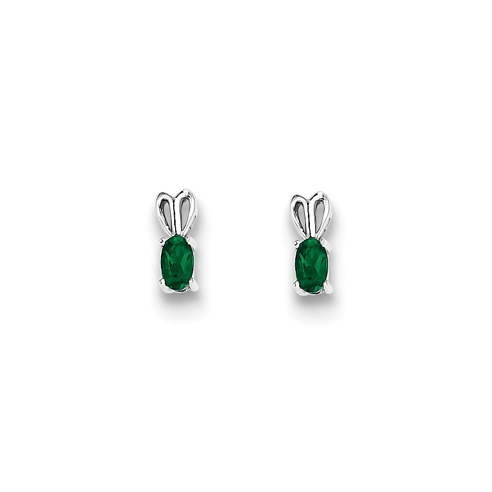 Sterling Silver Created Emerald Earrings. Gem Wt- 0.39ct (10MM Long x 4MM Wide)