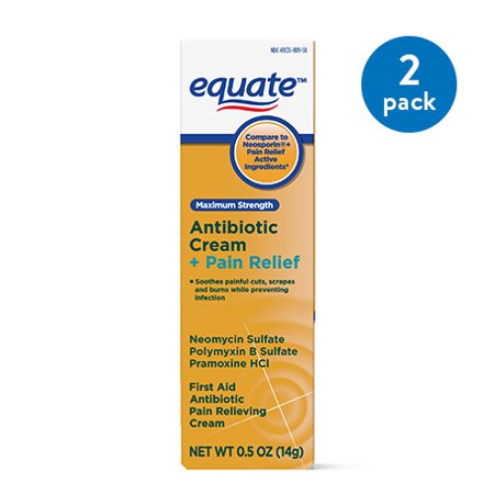 (2 Pack) Equate Maximum Strength Antibiotic Plus Pain Relief Cream, 0.5 (Maximum Strength Antibiotic)