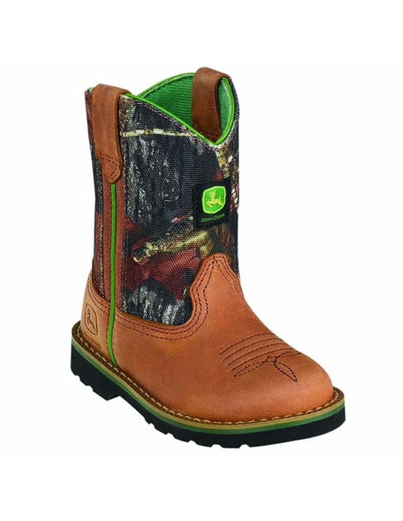 John Deere Western Boots Boys Wellington Crazy Horse Tan Camo JD1188 by John Deere