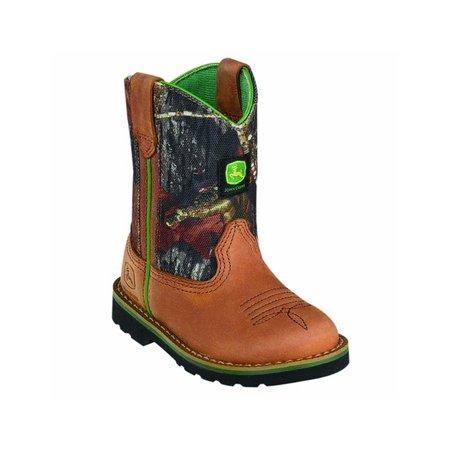 John Deere Western Boots Boys Wellington Crazy Horse Tan Camo JD1188