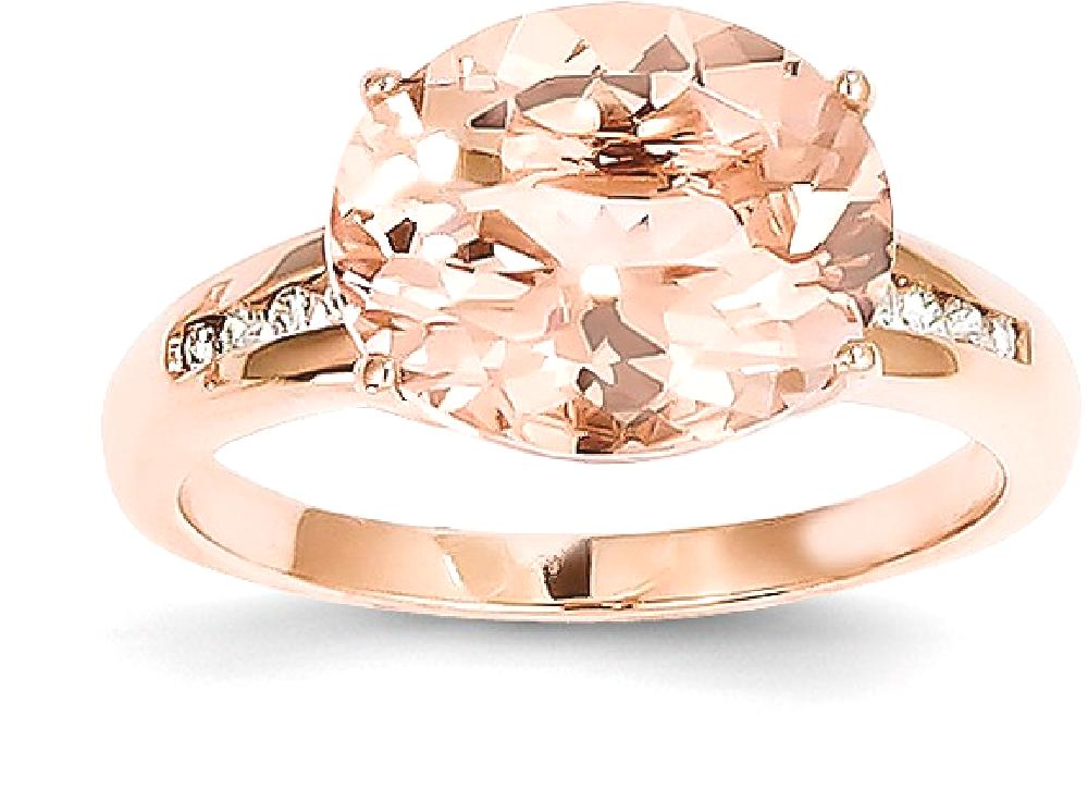 ICE CARATS 14kt Rose Gold Diamond Pink Morganite Band Ring Size 7.00 Stone Gemstone Fine Jewelry Ideal Gifts For Women... by IceCarats Designer Jewelry Gift USA