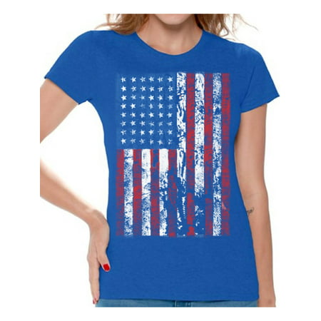 Awkward Styles Women's USA Flag Distressed Graphic T-shirt Tops 4th of July Independence Day - Diy Fourth Of July Shirt