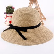 Fashion Women Sun Hat Straw Hat Wide Brim Summer Beach Headwear Khaki
