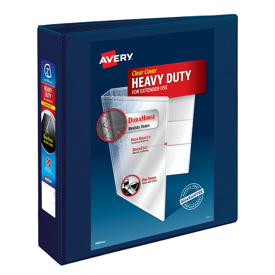 "Avery 2"" Heavy-Duty View Binder, One-Touch Rings, Navy Blue"