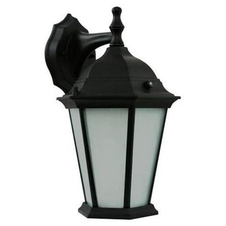 Efficient Lighting EL-106-123 Timeless Outdoor Wall Lantern  Die Cast Aluminum  Powder Coated Black  Frosted Glass with Built-in photocell  Energy Star Qualified