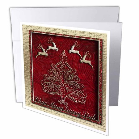 Reindeer Christmas Cards.3drose Chuc Mung Giang Sinh Merry Christmas In Vietnamese Reindeer Greeting Cards 6 X 6 Inches Set Of 12