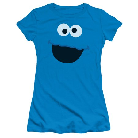 Cookie Monster Face Juniors Short Sleeve Shirt - Cookie Sleeves