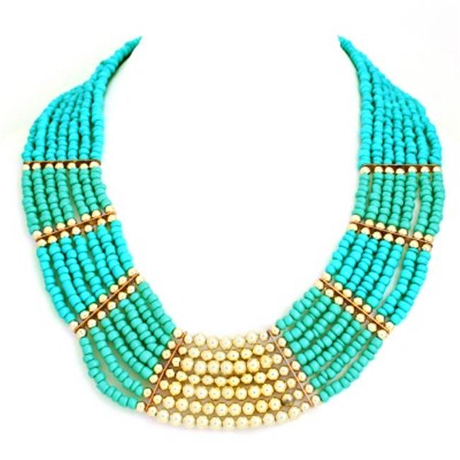 C Jewelry 2 Tone Turquoise And Gold Silver Bead Indian Bib Necklace