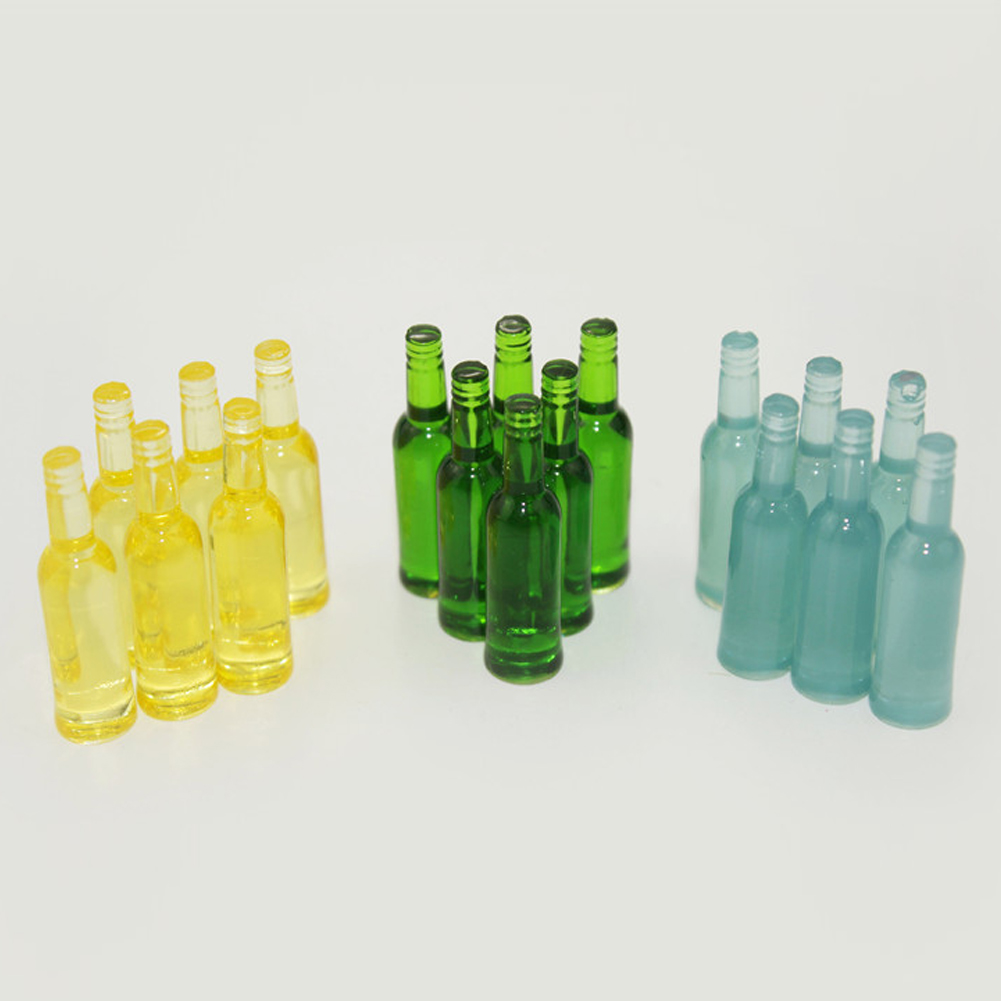 Obstce 6Pcs Dollhouse Miniature Beer Bottle Dining Drinks Simulation Kitchen Toy Gift