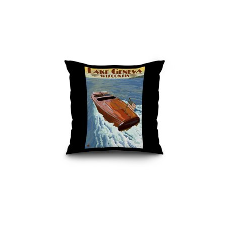 - Lake Geneva, Wisconsin - Chris Craft Wooden Boat - Lantern Press Artwork (16x16 Spun Polyester Pillow, Black Border)