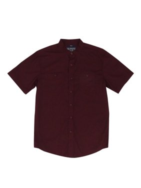 ccff1a858a8 Product Image American Rag Men's Solid Band-Collar Short-Sleeve Shirt (S,  Dark Scarlet