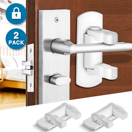 Child Safety Door Handle Locks, 2Pack Adhesive Baby Proof Door Lever Lock No Drill Quick Install Safety Locks for