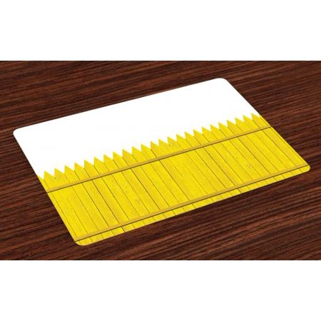 Yellow Placemats Set of 4 Colorful Wooden Picket Fence Design Suburban Community Rural Parts of Country, Washable Fabric Place Mats for Dining Room Kitchen Table Decor,Yellow Mustard, by Ambesonne (Suburban Community)