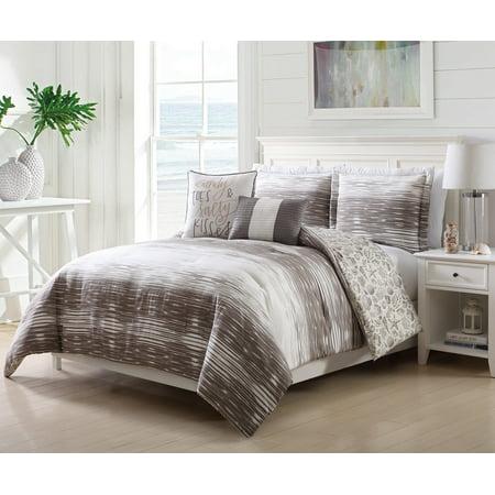 5 Piece Morro Taupe/Cream Comforter Set Full/Queen