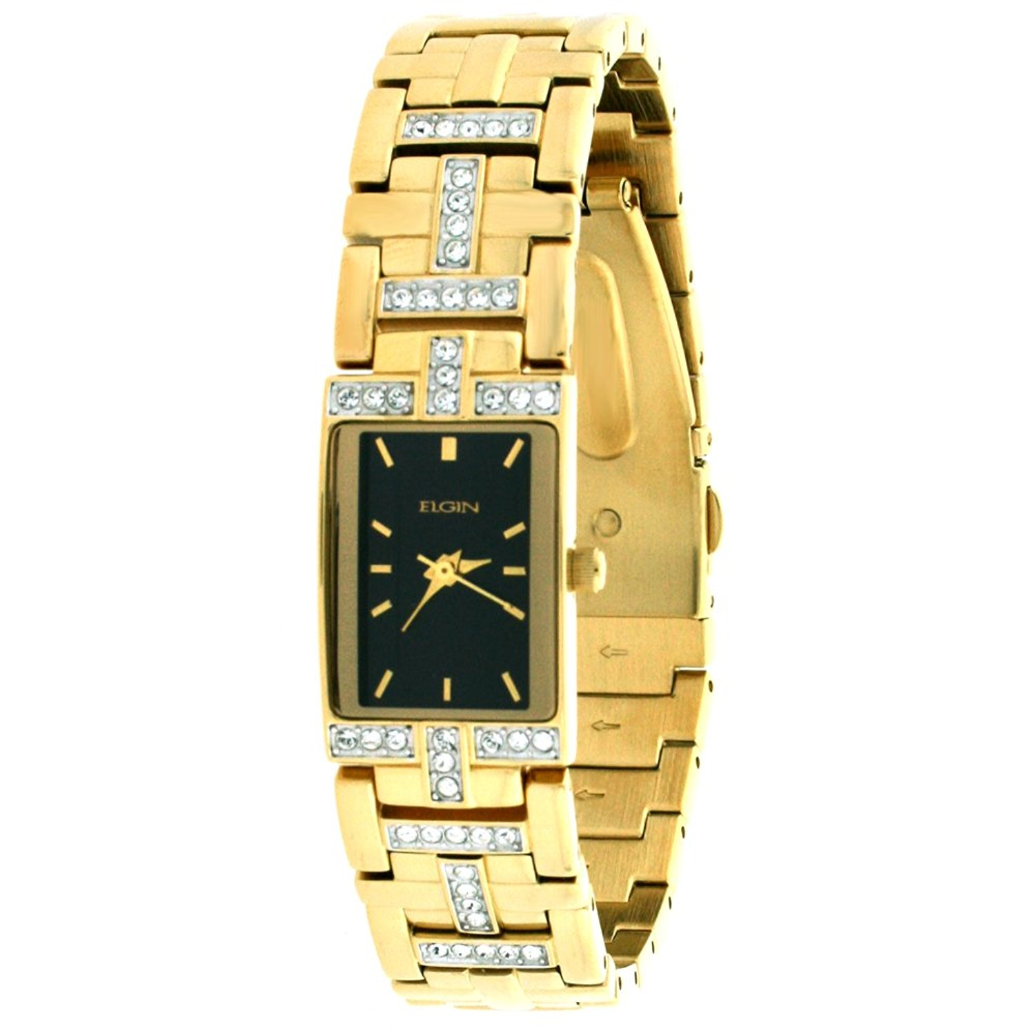 ELGIN Ladies Crystal Gold Tone Dress Watch EG1504