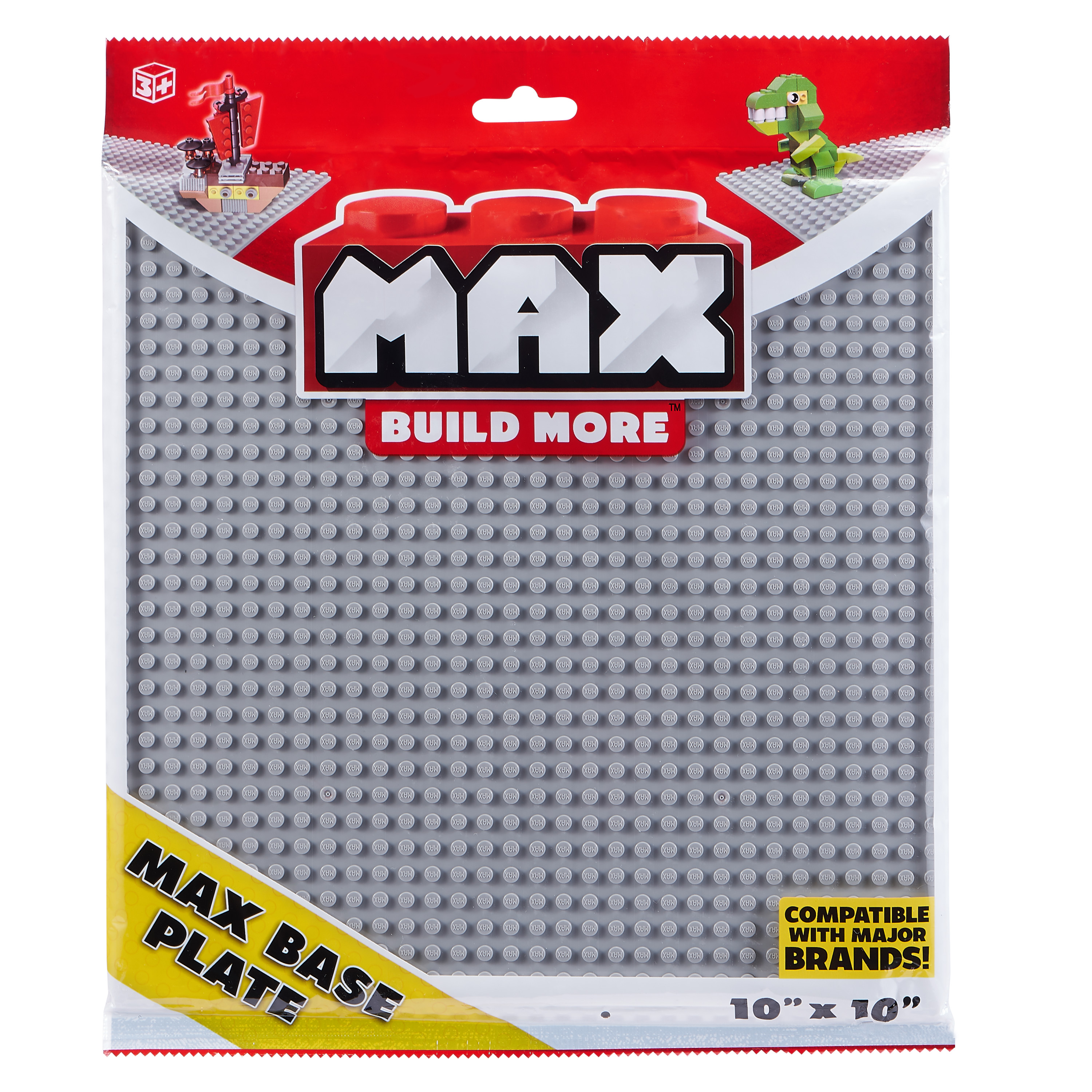"MAX Build More Building Bricks Baseplate 10""x10"" - Major Brick Brands Compatible"