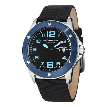Acme Watch (Stuhrling Original  Men's Pilot Ace Black-Dial Quartz Canvas Leather Strap Watch -)