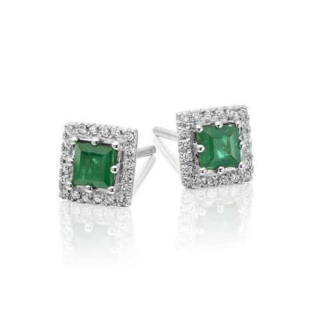 Harry Chad Enterprises 31478 6.00 CT Lady Emerald & Diamonds Studs Earrings - 14K White Gold - image 1 de 1