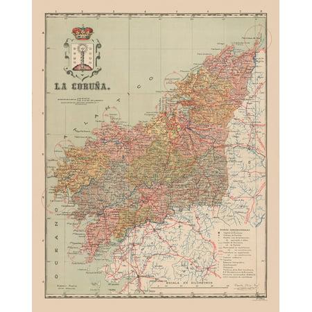 Map Of Spain La Coruna.Old Spain Map La Coruna Martin 1911 23 X 28 95 Walmart Com