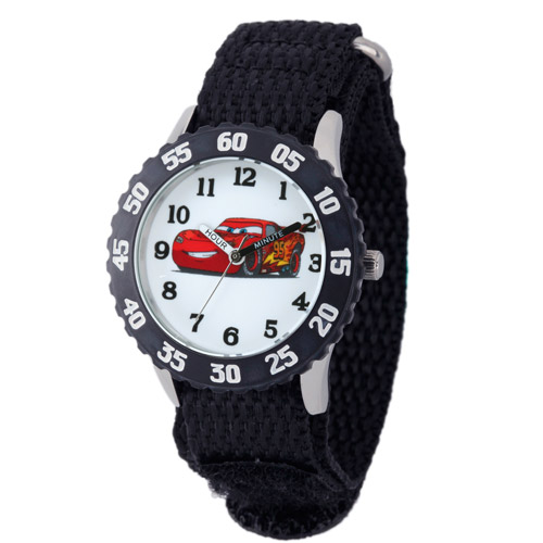 Disney Cars Boys' Stainless Steel Case with Bezel Watch, Black Nylon Strap