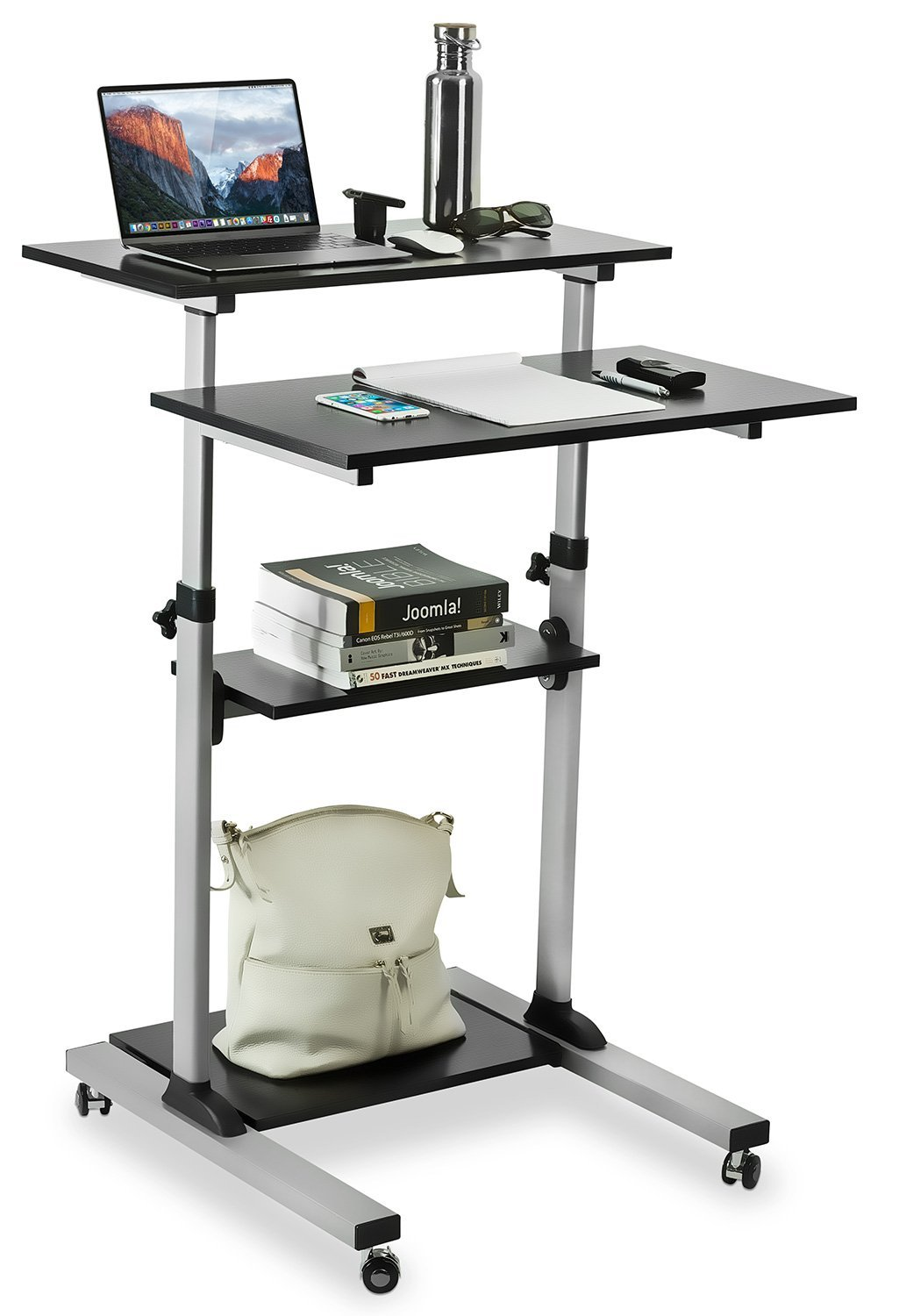 mountit mobile stand up desk height adjustable computer work station rolling