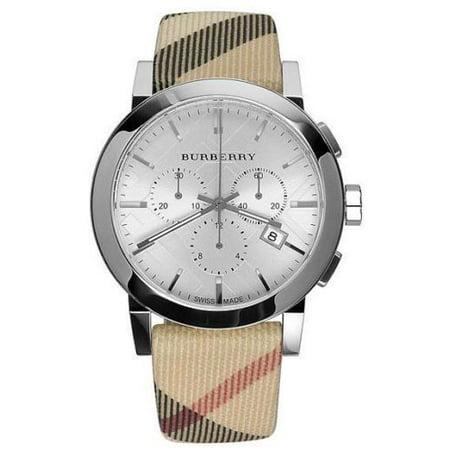 Blue Strap Chronograph Watch (Burberry Mens Haymarket Check Strap Chronograph Watch BU9357 )