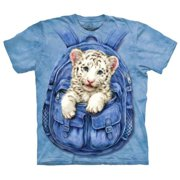 White Tiger Cub in Backpack T-Shirt - Small