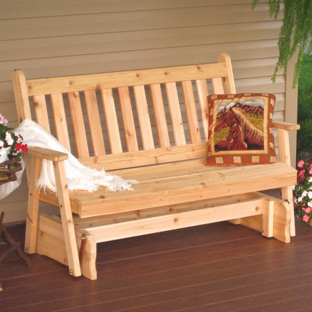 A & L Furniture Western Red Cedar Traditional English Outdoor Loveseat Glider ()
