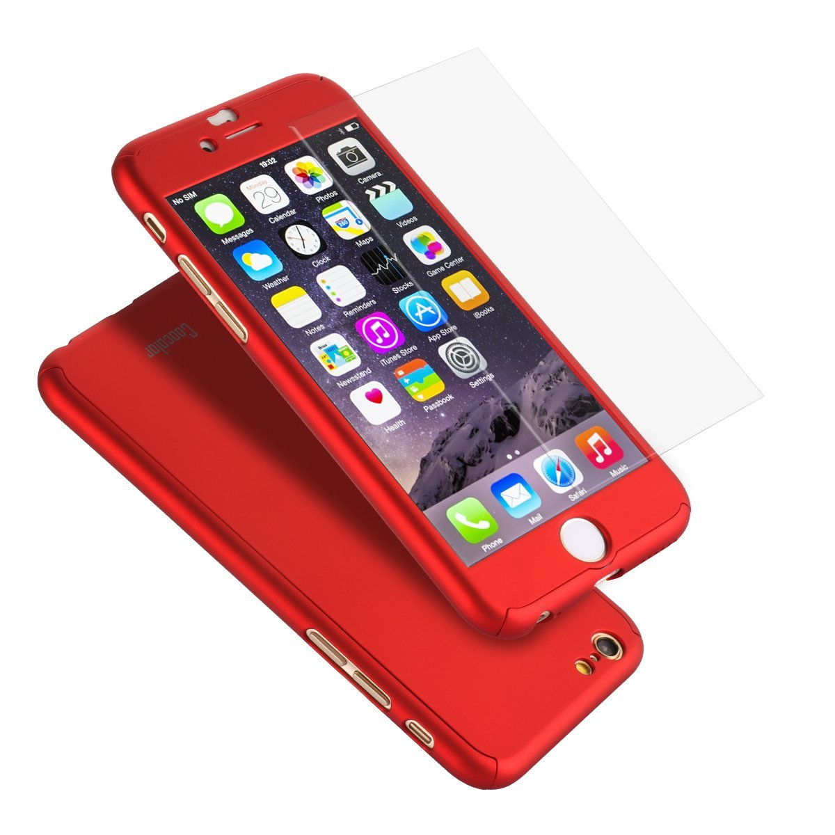 iPhone 6S Plus Case, Coocolor Ultra Thin Full Body Coverage Protection Hard Slim iPhone 6S Plus Case with Tempered Glass Screen Protector for Apple iPhone 6S Plus 5.5'(Red)