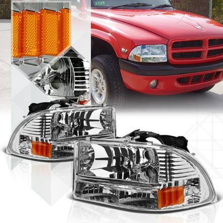 Chrome Housing Headlight Amber Turn Signal Per For 97 04 Dodge Durango Dakota 98 99 00 01 02 03