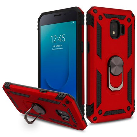 Samsung Galaxy J2 Core (J260)/J2 Pure /J2 Phone Case Hybrid Durable 360 Degree Rotatable Ring Stand Holder Kickstand Fit Magnetic Car Mount Protective Case Red Cover for Galaxy J2 Core, J2, J2