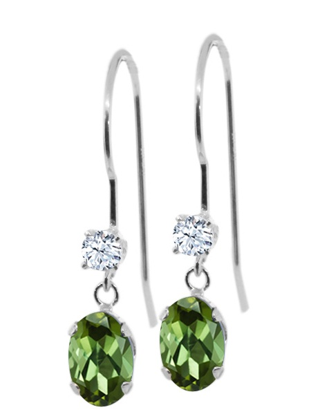0.96 Ct Oval Green Tourmaline White Topaz 14K White Gold Earrings by
