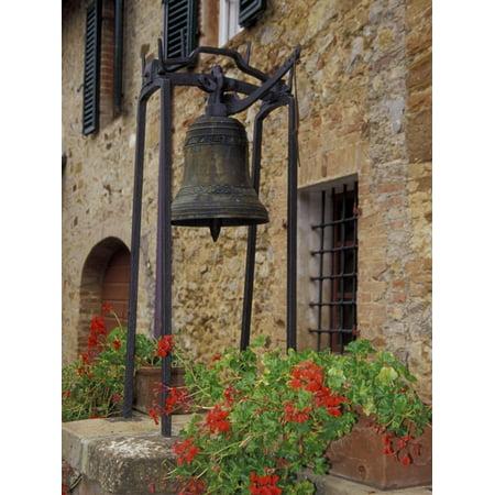 Bronze Bell, Geraniums and Farmhouse, Tuscany, Italy Print Wall Art By John & Lisa Merrill