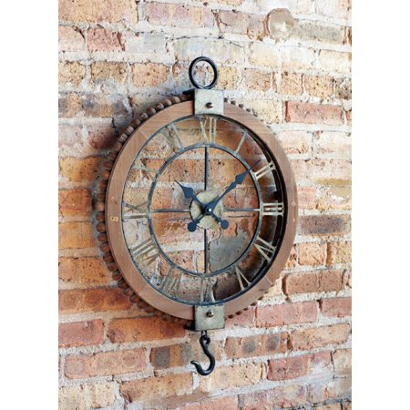 """21.75"""" Large Open Extravagant Vintage Wall Clock with Roman Numerals and Hook ()"""