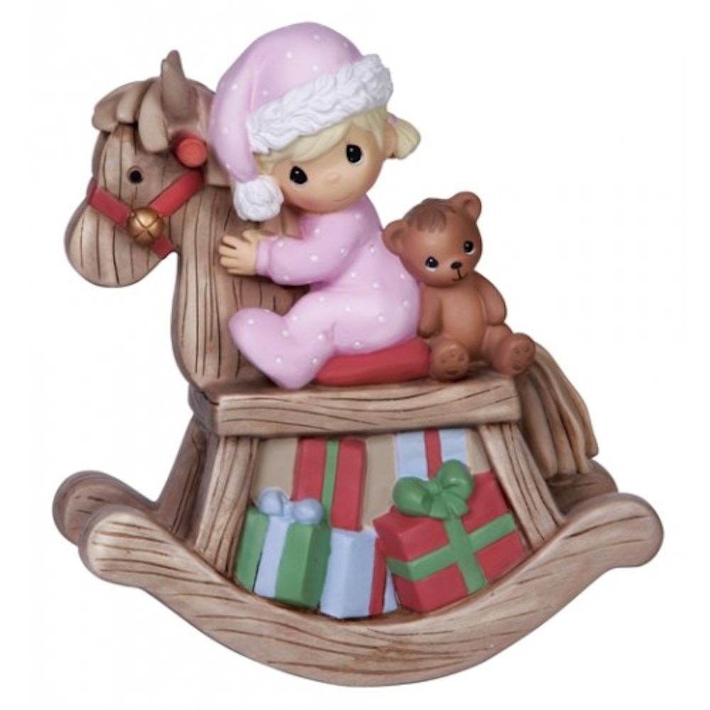 Precious Moments Christmas 141103 Girl on Rocking Horse Musical Figurine by Precious Moments
